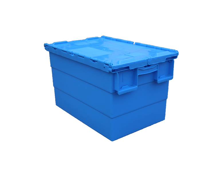 600-340 Logistics Packaging moving nestable plastic attached lid totes box